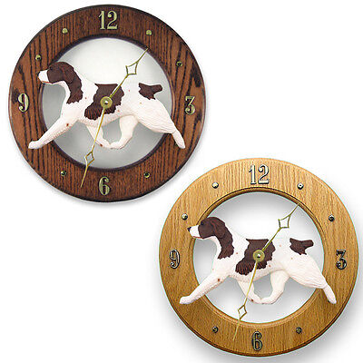 Brittany Spaniel Dog Wood Wall Clock Plaque Liver