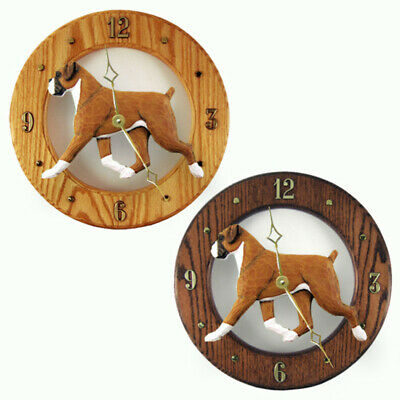 Boxer Wood Clock Wall Plaque Fawn Uncrop