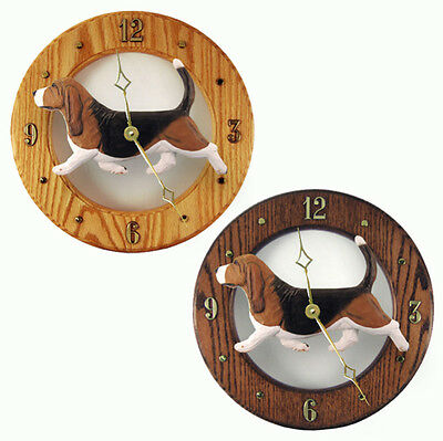 Basset Hound Clock Wood Wall Plaque Tri