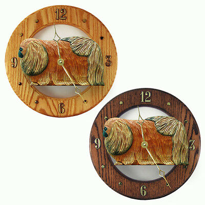 Pekingese Wood Wall Clock Plaque Red