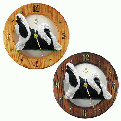 Shih Tzu Wood Clock Wall Plaque Black/White