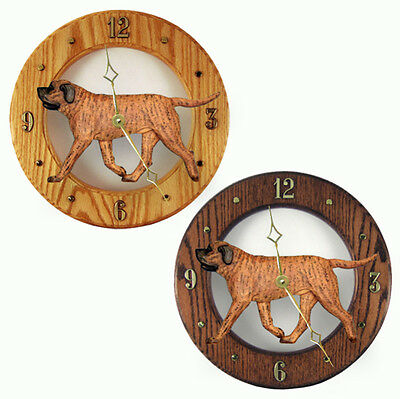Mastiff Wood Wall Clock Plaque Apricot Brindle