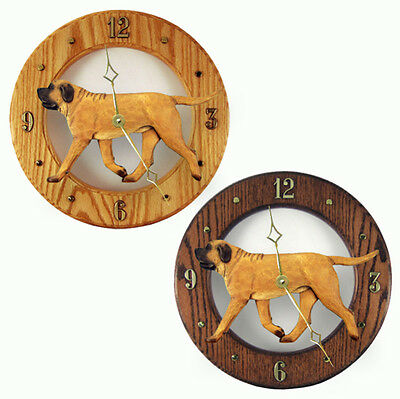 Mastiff Wood Wall Clock Plaque Apricot