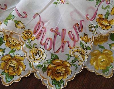 Vintage Printed Mother Hanky Yellow Floral Roses Pink Bows Handkerchief