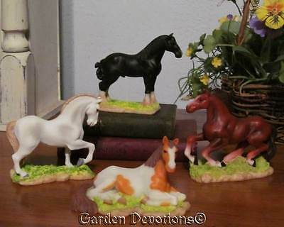 Incredible Find! SET OF 4 HORSE HORSES FIGURINES STATUES Galloping Prancing NICE