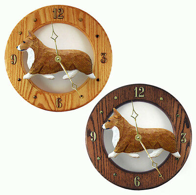 Welsh Corgi Pembroke Wood Wall Clock Plaque Red