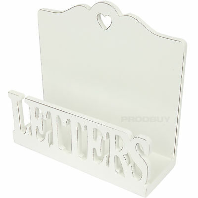 Shabby Chic Wooden Letter Rack Vintage Style White Holder Tray Desk Organiser