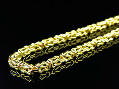 """New 10k Yellow Gold Byzantine Italian Link Style Chain Necklace (3mm) 24,30,36"""""""