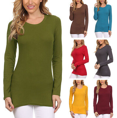 Fitted Cotton Basic Crew Neck Top Long Sleeve T-Shirt Great for Layering