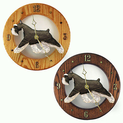Schnauzer Wood Wall Clock Plaque Blk/Silv