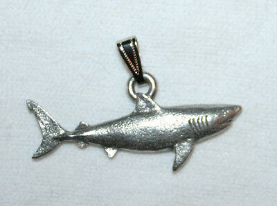 Great White SHARK Harris Fine Pewter Pendant USA Made