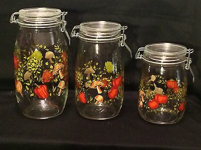 Set Of 3 Canisters/Containers - Mushroom-Bellpepper-Mushroom Pattern