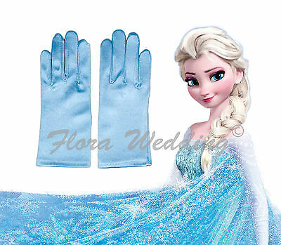 Disney Frozen Elsa Magical Girl's Satin Gloves for snow queen's costume dress