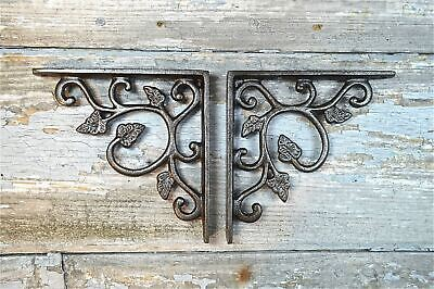 Pair Of Arts And Crafts Leaf Cast Iron Shelf Brackets Shelving Shelves