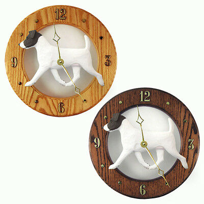 Jack Russell Terrier Wood Wall Clock Plaque Blk/Wht