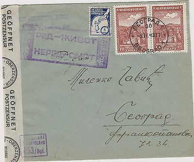 SERBIA,GERMANY,WW II, 1943, cover censored,Beograd + charity stamp
