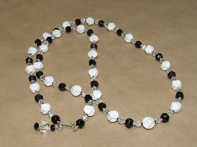 """VTG 60s Black & Clear Crystal w/ Molded White Milk Glass Bead Necklace Japan 38"""""""