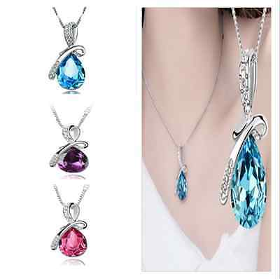 Wedding Party Sweet Rhinestone Chain Crystal Waterdrop Pendant Necklace Jewelry