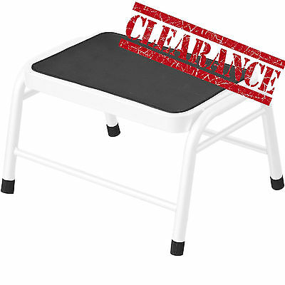 New White Step Stool Durable Caravan Kitchen DIY Metal Foot Non Slip Rubber Mat