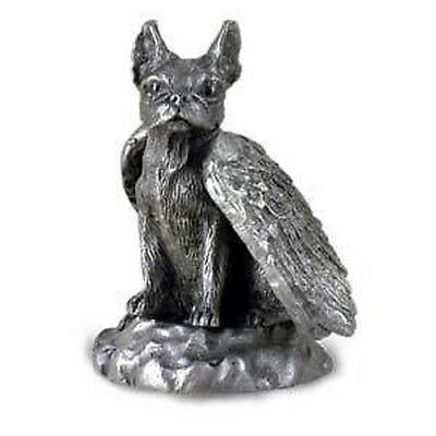 PEWTER Angel BOSTON TERRIER Dog Figurine Statue New
