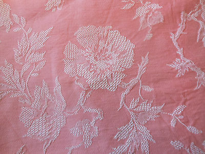 Antique French Art Deco Coral Pink Poppy Floral Cotton Damask Ticking Fabric