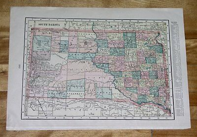 1902 LARGE COLORFUL MAP OF NORTH AND SOUTH DAKOTA