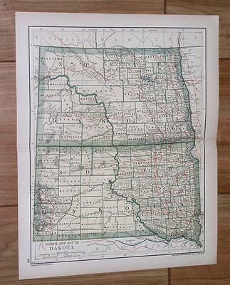 1894 ANTIQUE MAP OF NORTH AND SOUTH DAKOTA
