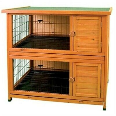 NEW LARGE DOUBLE STACK BUNNY RABBIT & GUINEA PIG HUTCH PET ANIMAL CAGE HOUSE