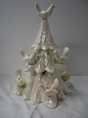 RARE PEARL WHITE CERAMIC CHRISTMAS TREE DOVE CANDLE HOLDER 8 Individual DOVES