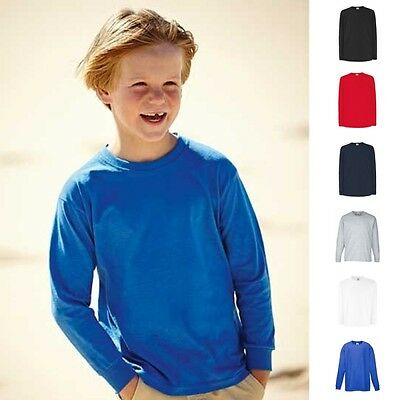 Fruit of the loom Langarm T-Shirt Valueweight Kinder Kind Junge Shirt Longsleeve