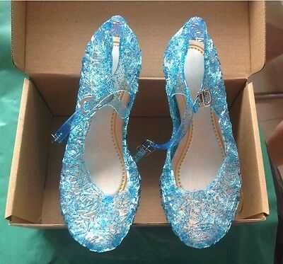 Elsa Princess Queen Fancy Dress up Cosplay Jelly Shoes new