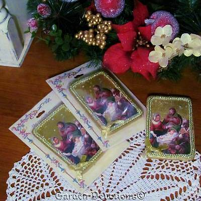 Set of 3 *ShiMMerY* NATIVITY SCENE CHRISTMAS ORNAMENTS WOOD PLAQUE Faux Jewels