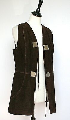 Vintage long brown suede Breco's waistcoat - Original tags dated 1970 - UK 10