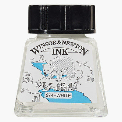 Winsor & Newton : Drawing Ink 14ml Bottle : White : (water resistant)
