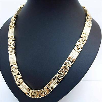 9MM 18K Yellow Gold Filled High Quality Cross Curb Link Chain Necklace FN3122