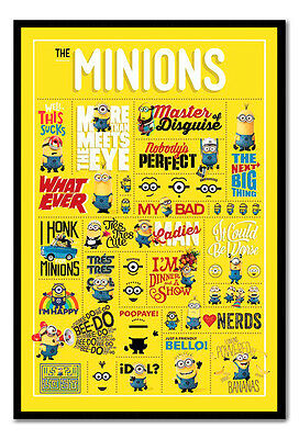Framed Official Despicable Me Minions Infographic Poster New Ready To Hang