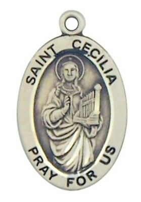 "Patron Saint St Cecilia 7/8"" Oval Sterling Silver Medal on Rhodium Plated Chain"