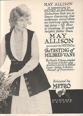 May Allison Darrell Foss 1918 Ad- The Testing Of Mildred Vane/ Metro