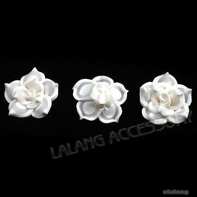 30pcs White&Clear Flowers Charms Flatback Polymer Clay Beads Fit Make Crafts LC