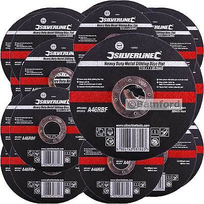 "Silverline 115mm Ultra 1mm Very Thin Flat Metal Cutting Discs 4.5"" Angle Grinder"