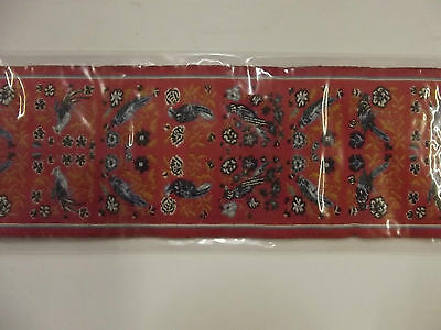 Pike Pike & Co Woven Stair Carpet 1:12th scale - Orange with birds & flowers