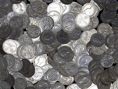 LOT OF 5 1958 ELIZABETH II SIXPENCE 6d COINS -  COLLECTION /BULK - LUCKY XMAS