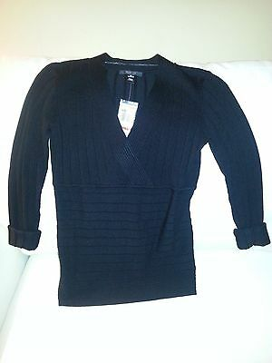Macys Style Co Black Silver Metallic V Neck Sweater Sz S Nwt