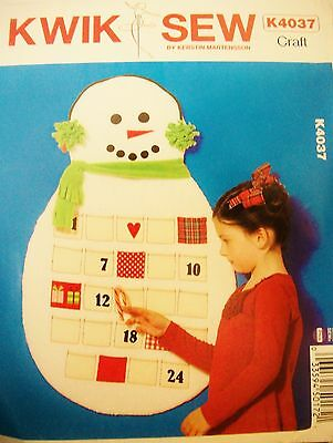 Kwik Sew 4037 Craft Pattern Christmas Countdown Snowman Advent Calendar UNCUT FF
