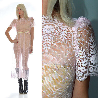 VTG 70s Sheer Scallop Lace Victorian Pale Pink Wedding Boho Dress