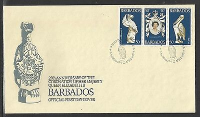BARBADOS1978 QUEEN ELIZABETH CORONATION Strip of 3 FIRST DAY COVER