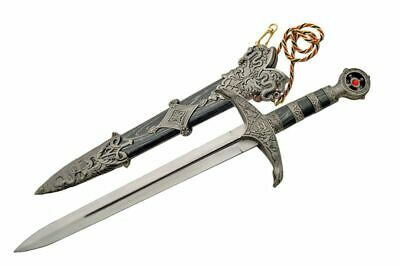 """NEW! 18.5"""" Medieval Knight Lord's Double Edged Dagger w/ Scabbard"""