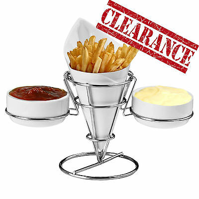 Clearance French Fry Porcelain Chip Cone Finger Food Chrome Wire Stand 2 Dips