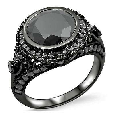 14k Black Gold 2 7/8ct TDW Black Diamond Vintage-style Ring (VVS1-VVS2)