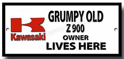 Grumpy Old Kawasaki Z900 Owner Lives Here Enamelled Finish Metal Sign.